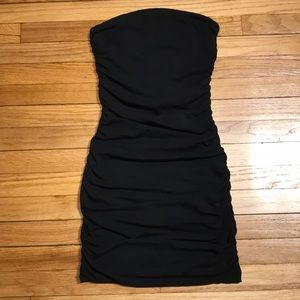 Express little black strapless tube ruched dress